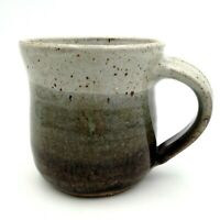 Studio Art Pottery Handcrafted Speckled Coffee Mug Tea Cup Gray Green Brown
