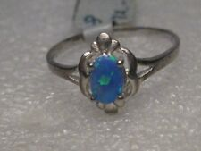 Deco Theme, Sz. 8, 1.28 gr. Sterling Silver Created Opal Ring, Art