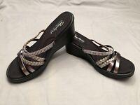 Sketchers Memory Foam Womens Wedge Sandals Size 9 Copper Gold Metallic Comfort