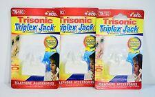 Telephone Rj11 3 Way Splitter Triplex Triple Jack Telephone Adapter 3 Lot