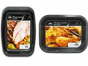 Ndew 2 x Non Stick Oven Baking Cooking Roasting Roaster Kitchen Tin Tray Pan
