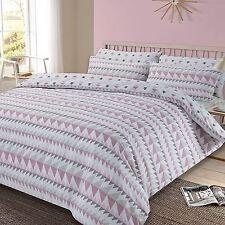 Rewind Geometrico King Size copripiumino Blush Rosa Grigio set di biancheria da letto per adulti NUOVO