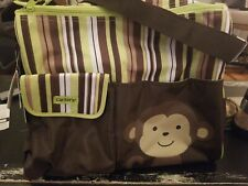 Carter's Diaper Bag Baby Tote Monkey With Brown & Green Stripes with change pad.