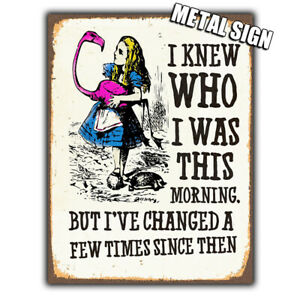 WALL PLAQUE METAL SIGN Alice in Wonderland Vintage style Quote decor fun gift