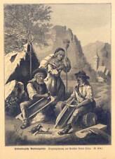 Siebenbürgische Muldenzigeuner-Sinti-Roma-Musik-Zigeuner - Holzstich 1886