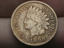 1898 Indian Head Cent Penny, VF Details, Full Rims, Partial LIBERTY