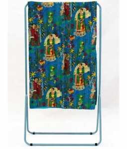 Blue Cotton Frida Kahlo Kantha Quilt Block Printed Indian Bedspread Twin Size US
