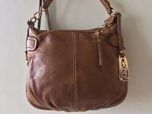 DKNY DONNA KARAN real leather distressed tan messenger crossbody shoulder bag