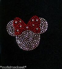 2.5 inch clear/red Minnie Mouse iron on Disney rhinestone small filled transfer