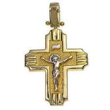 Anhänger Kreuz Korpus Massiv Gold 585 Gelbgold Weißgold Herren Damen Goldkreuz