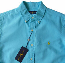 Men's RALPH LAUREN French Turquoise Blue Cotton Shirt 2XB 2XL 2X BIG NWT NEW