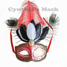 Red/Gold Venetian Masquerade Mask w/Peacock Ostrich Feathers Party Halloween