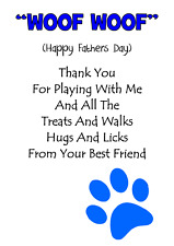 DOG PAW PRINT personalised A5 FATHERS DAY card