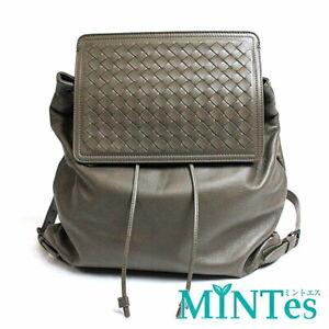 Auth Bottega Veneta Intrecciato Rucksack Gray Leather Backpack Mesh Pattern Bag