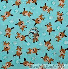 BonEful FABRIC FQ Cotton Quilt Aqua Blue White Xmas Small Reindeer Snowflake Dot