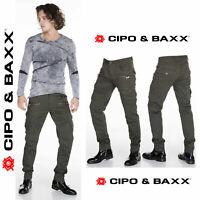 CIPO & BAXX Herren Jeans CD424-Khaki NEU Hose Straight Cut Regular Stretch