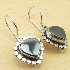 "Rare HEMATITE Gemstone, Silver Plated Eye-Catching ART Earrings 1.2"""