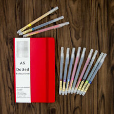 Bullet Journal Set A5 Red Leather Dot Grid Journal With 12 Color Brush Pens Pack
