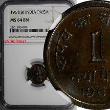 India-Republic Naya Bronze 1961 B 1 Paisa NGC MS64 BN KM# 8