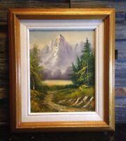 Vintage Framed Original Signed Oil Painting Mountain Lake Landscape