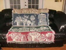 NEW Afghan textile couch / bed throw Garden bird blanket cover decorative warmer