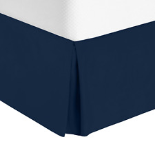 Hotel Luxury Pleated Tailored Bed Skirt - 14� Drop Dust Ruffle, King - Navy Blue