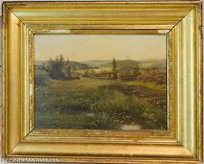 BEAU TABLEAU ANCIEN PAYSAGE à LA RIVIèRE FIN DU XIXE 19E