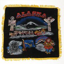 Alaska Totem Pole Dog Sledding Souvenir vtg Black Velvet Pillow Cover mint rare