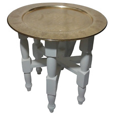 "20"" White Wooden Handmade Hand Crafted Table with 16"" Moroccan Gold Tray"