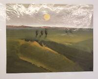 """Gouache von Ursula Bankroth """"Landschaft mit Sonne """" 2000 Malerei Kunst sf"""