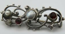 Jugendstil Brosche 800 Silber Granat und Perlen (A)