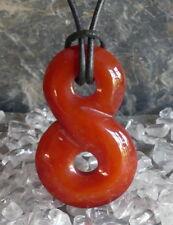 Karneol Carneol Heilstein Infinity Donut Anhänger 40 mm mit Lederband