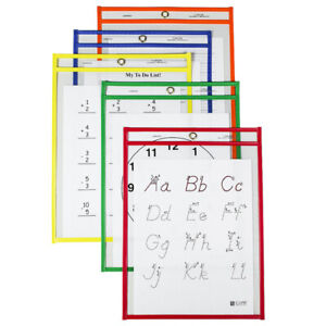 C-Line Products Inc - Reusable Dry Erase Pockets Assorted Primary 9x12 - 25 Pack