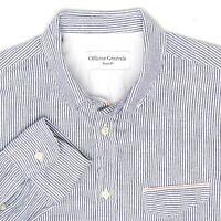Officine Generale Paris Mens Work Shirt S Blue White Hickory Stripe Selvedge