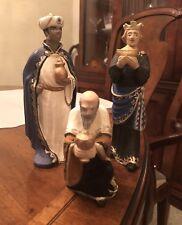 Rare Henning Norway Carved Wood Christmas Nativity Three wisemen 6.5 In 3 pc