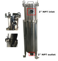 "2"" Npt w/ 1 bag & gauge: High Pressure #2 Bag Filter Housing 304 Stainless Steel"