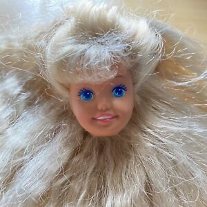 BARBIE DOLL HEAD ONLY FOR REPLACEMENT OR OOAK 1980s 1990s STACIE BLONDE PINK LIP