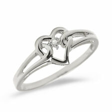 10K White Gold Diamond Heart Ring (Size 7)