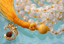 Crystal Quartz & Calcite Hand Knotted Mala Beads Necklace - Karma, Nirvana, Medi