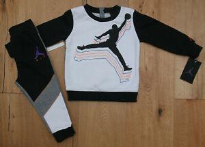 Air Jordan Baby Boy 2 Piece Jogging Set ~ Black, White, Gray & Orange ~Sweatsuit