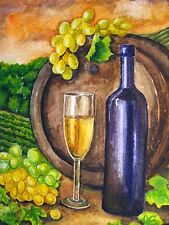Watercolor Painting White Wine Bottle Glass Wooden Barrel Grapes Alcohol 5x7 Art