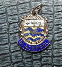 vintage SILVER blue enamel Blackpool English tourist bird charm bracelet D354