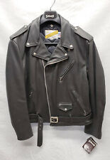 SCHOTT NYC 118 Classic Perfecto Black Leather Motorcycle Jacket Size 46L Long