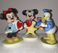 Walt Disney Productions Bisque Figurines, Bundle Mickey, Minnie and Donald Duck