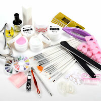 20in1 Nail Art Manicure Set UV Builder Gel Topcoat Gel False Tips Brush Glitter