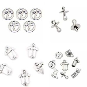10 Baby Pacifier Charms Dummy Baby Shower Invitations Craft Silver Favour Gift