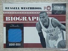 RUSSELL WESTBROOK 2010-11 NATIONAL TREASURES BIOGRAPHY JERSEY CARD #20 19/99