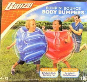 Kids Body Inflatable Bubble Ball Suit Bumper Human Soccer Game Outdoor Toys 2pc