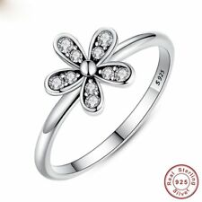 Rose Gold 925 Silver Dazzling Daisy Flower Ring Wedding Engagement Size 6-10