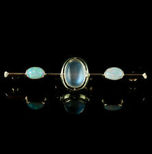 Vintage 1940s 14k Yellow Gold Oval Cabochon Moonstone & Opal Pin / Brooch 3.5ctw
